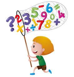 little boy catching numbers with net vector image