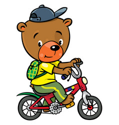 Little funny bear on bicycle vector