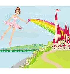 Magic fairy tale princess castle vector