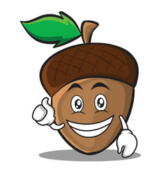 optimistic acorn cartoon character style vector image
