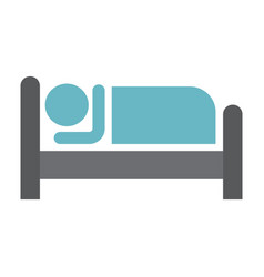 Person in bed and hotel flat icon vector