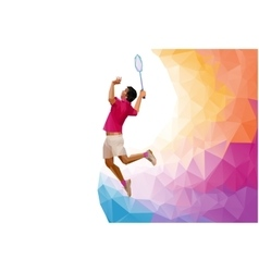 Polygonal professional badminton player during vector