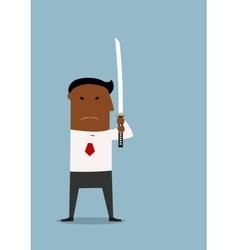 Serious businessman standing with samurai sword vector