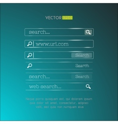 Set of search bars made in shiny simple glassy vector
