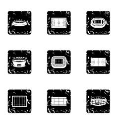 Sports stadium icons set grunge style vector