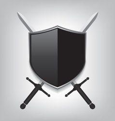 Swords and black shield vector image vector image