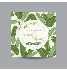 Tropical banana leaves wedding card vector