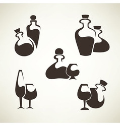 Wine and alcohol collection vector