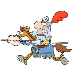 Happy knight riding horse vector