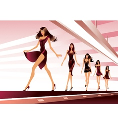 Fashion models on runway vector