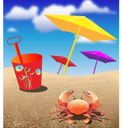 Crab at the beach vector