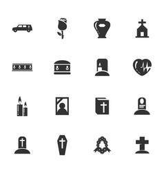 funeral service icons set vector image