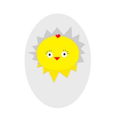 Easter baby chicken egg shell crack cute cartoon vector