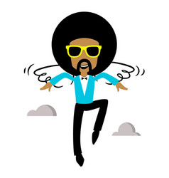 afro flying vector image