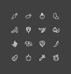 White vegetables outline icons set vector