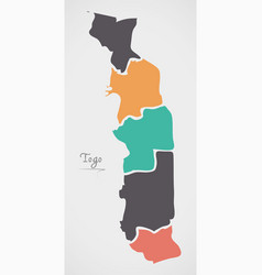 Togo map with states and modern round shapes vector