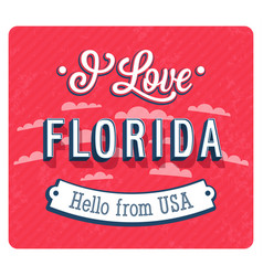 Vintage greeting card from florida vector