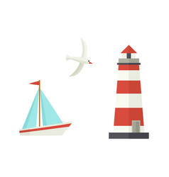 Flat cartoon sailboat lighthouse flying seagull vector