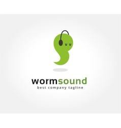 Abstract worm with headphone logo icon concept vector