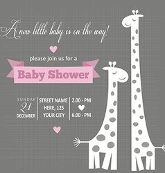 Baby girl invitation for baby shower vector