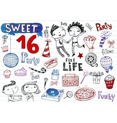 Sweet 16 party doodle set vector