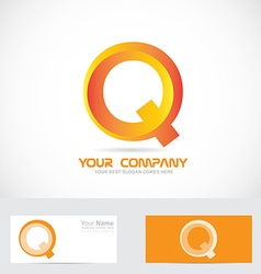 Letter q orange 3d logo icon vector