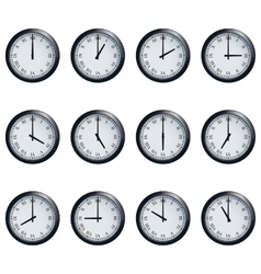 Clock set with roman numerals timed at each hour vector