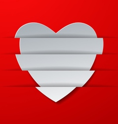 Abstract white paper heart on red background vector