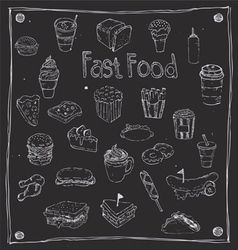 Fast foods draw 25 item vector