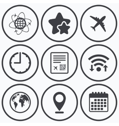 Airplane icons world globe symbol vector