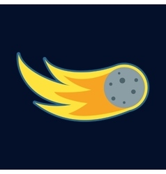 Comet fireball or meteor icon cartoon style vector