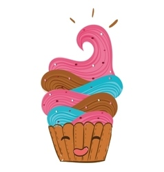cupcake with happy face vector image