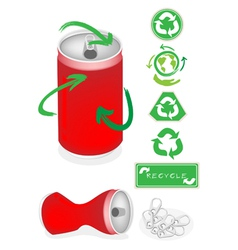 Aluminum Can with Recycle Symbol for Save World vector image vector image