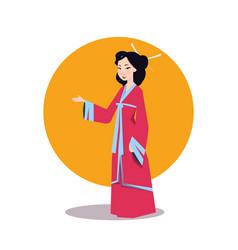 Asian woman in japanese kimono beautiful geisha vector