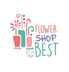 best flower shop logo estd 1969 element for vector image vector image