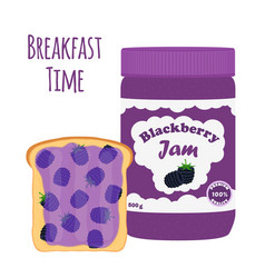 Blackberry jam in glass jar toast with jelly vector