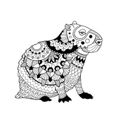 Capybara coloring book vector