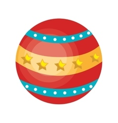 Circus ball colorful isolated flat icon vector image