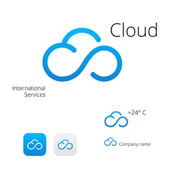 Cloud stylish logo and icons vector image