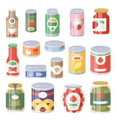 collection of various tins canned goods food metal vector image vector image