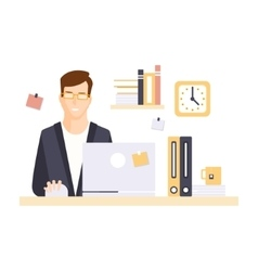 Content Smiling Man Office Worker In Office vector image vector image