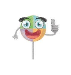 Drawing lollipop sweet party vector