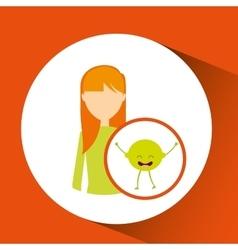 Girl cartoon and lemon cute fruit icon vector