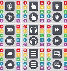 Globe hand battery headphones rewind cloud apps vector
