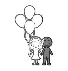 Grayscale silhouette of caricature of couple in vector
