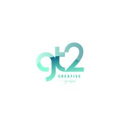 green gradient pastel modern gt2 g t 2 alphabet vector image