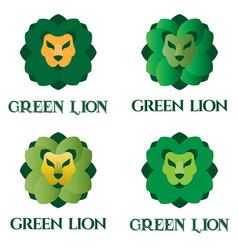 green lion logo set for flower shop landscaping vector image vector image