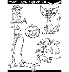 Halloween Cartoon Themes for Coloring Book vector image