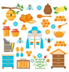 honey beekeeping flat icons set vector image