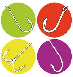 icon set with fishing hooks vector image